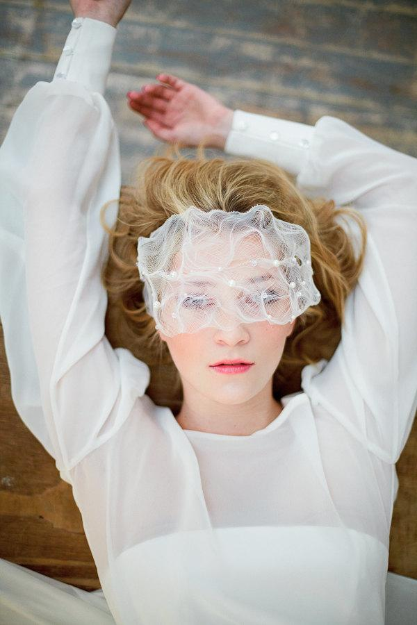 Hochzeit - Unconventional veil, crinoline, beaded birdcage, face cover, for a bride with exceptional style, stylish headpiece,