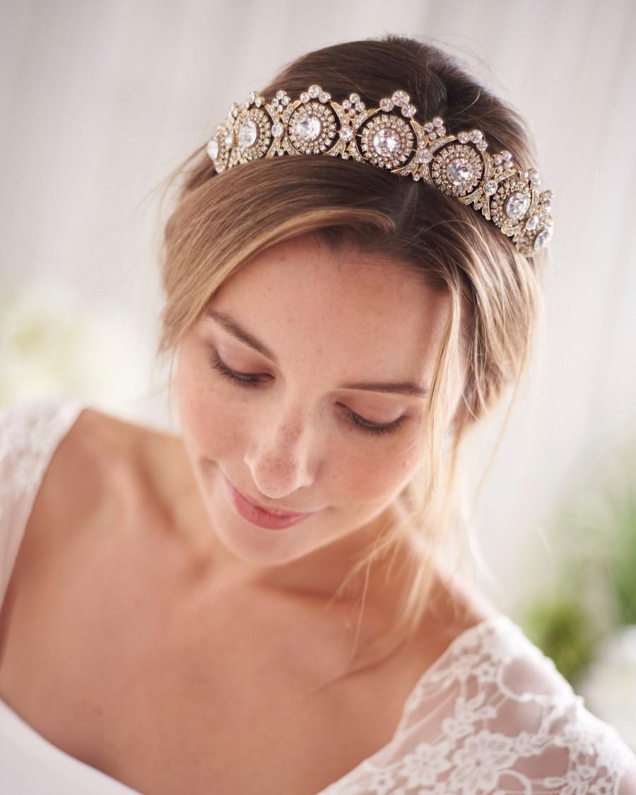 Mariage - Gold Vintage Bridal Tiara,Bridal Hair Accessory,Royal Bridal Crown,Rhinestone Wedding Crown, Antique Wedding Tiara,Bridal Headpiece ~TI-3286