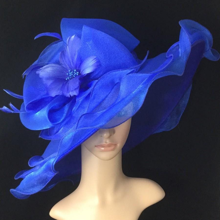 Wedding - Royal Blue Kentucky Derby Hat with Big Bow and Feather Flower Tea Party Hat Blue Dress Hat,