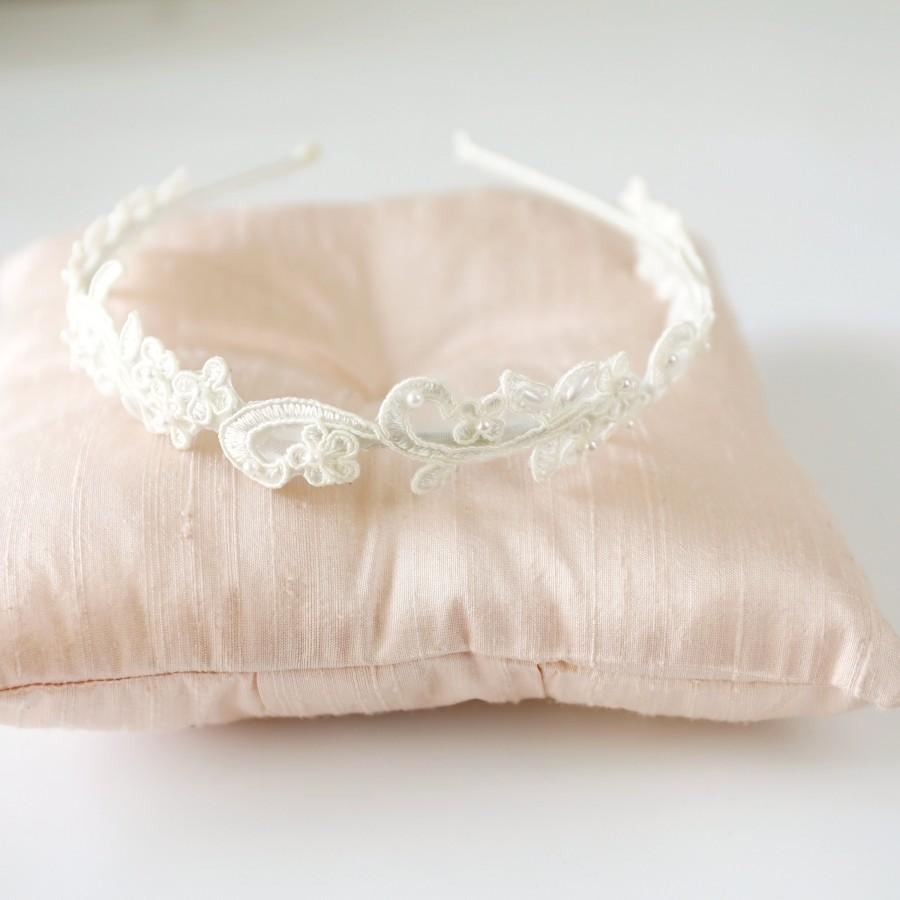 Wedding - Ivory Skinny Flower Lace Headband, Bridal Headband, Bridesmaid Headband, Flower Girls Headband / HB-20