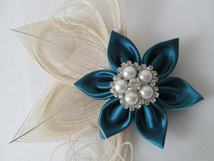 Wedding - Teal Wedding Fascinator, Ivory Peacock Hair Clip, Teal & Champagne Bridal Head Piece, Oasis Teal, Bridesmaid- Flower Girl, Bridal Corsage