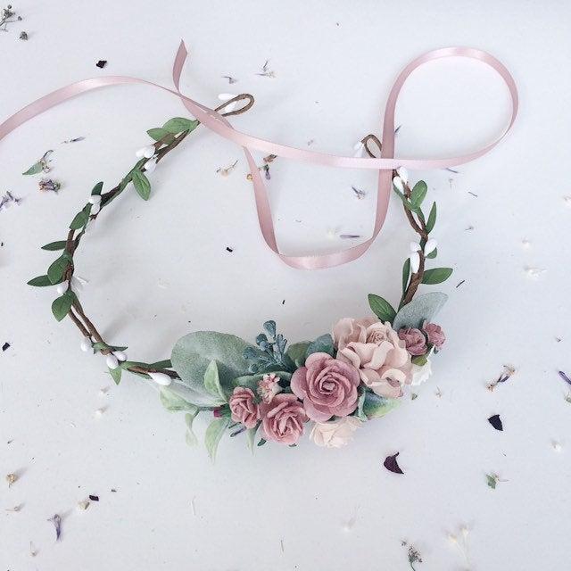Wedding - Flower girl crown, dusty rose and greenery floral crown, dusty pink flower girl crown, greenery mauve headband, bridal flower crow