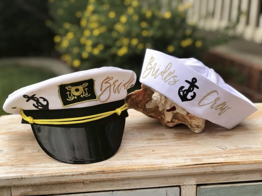 Mariage - Captain hat, Bride's Captain Hat, Sailor's hats, Bride's Mate, Bride's Crew, Bride Squad, Bachelorette Cruise hats, Captain Hat with Veil