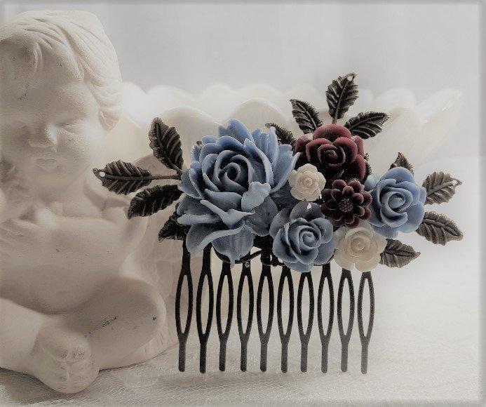 Wedding - Dusty Blue, Burgundy and White Wedding Hair Comb, Bronze Comb, Wedding Hairpiece,Dusty Blue Wedding AccessoryBridal Hairpiece,Something Blue