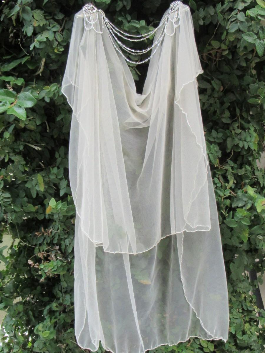 Hochzeit - Blush pink wedding veil, Boho veil, Boho wedding, 1920s wedding veil, Elegant wedding veil, Silver wedding veil, Pearl wedding veil, veil