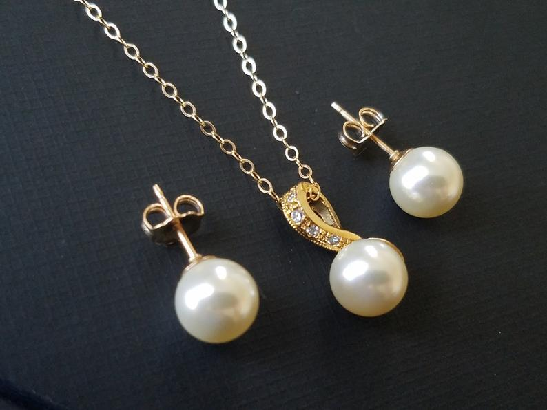 Mariage - Pearl Gold Bridal Jewelry Set, Wedding Earrings&Necklace Set, Swarovski Ivory Pearl Gold Set, Bridal Jewelry, Wedding Jewelry, Prom Jewelry
