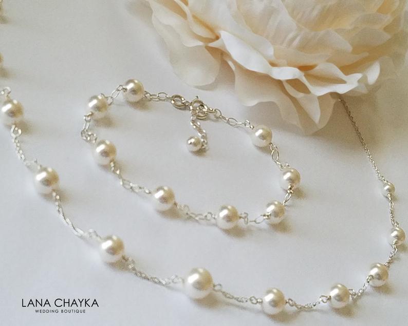 زفاف - White Pearl Bridal Jewelry Set, Swarovski Pearl Necklace&Bracelet Set, White Pearl Wedding Jewelry, Bridal Pearl Jewelry, Dainty Pearl Sets