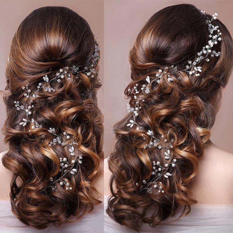 زفاف - Handmade Classic Faux Pearl Bridal 50cm Silver Long Hair Vine