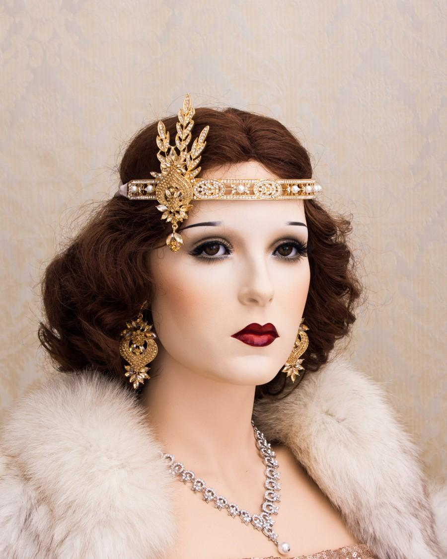 زفاف - Gold Flapper Headband Great Gatsby Headband Daisy Buchanan Costume Roaring 1920's Jewelry Headpiece