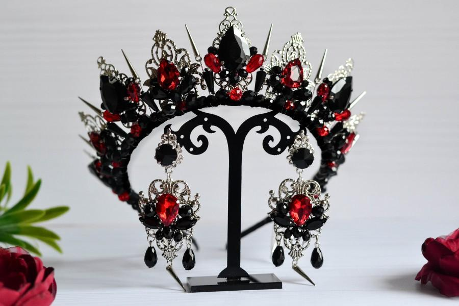 Mariage - Gothic wedding crown, Black crown, Wedding crown, Royal crown, Black and red tiara, Spiked crown,Gothic crown,Black earrings,Gothic earrings