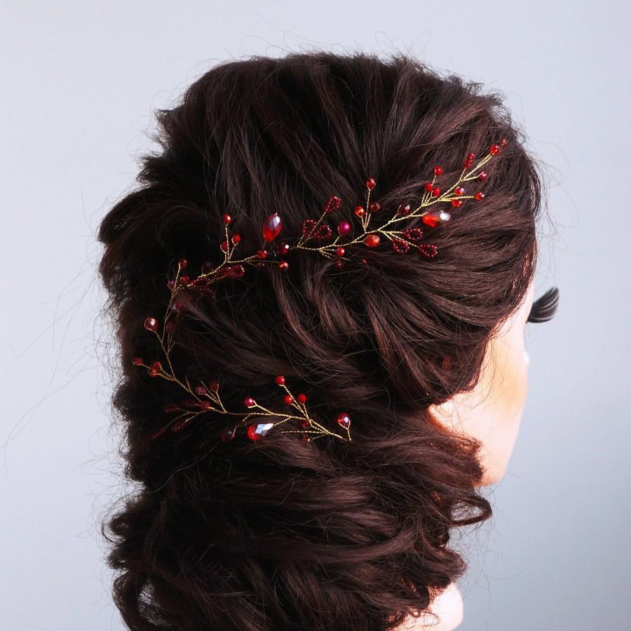 Wedding - Bridal Hair Vine-Wedding hair vine-Rose gold hair vine - Long hair vine- Red Pearl hair vine-Bohemian bridal headpiece-Hair vine for bride