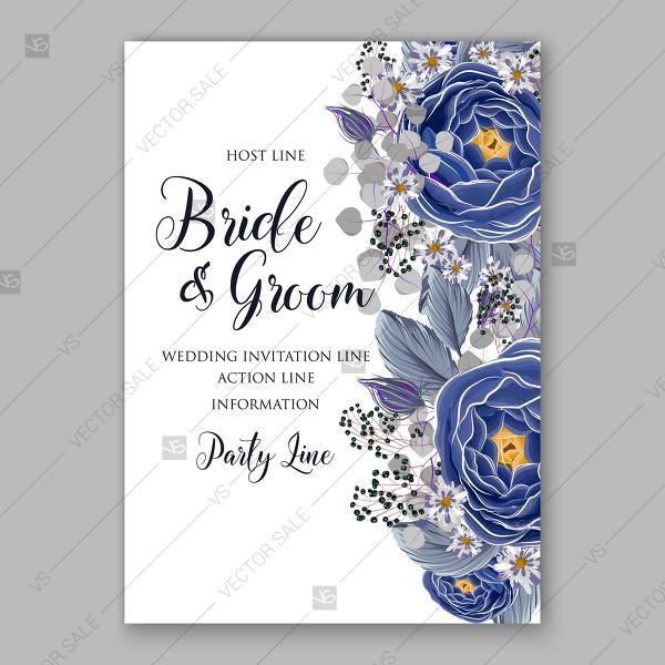 Wedding - Ranunculus wedding invitation navy blue watercolor vector card template anniversary invitation