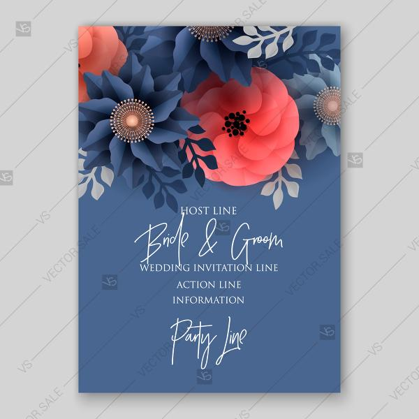 Wedding - Big paper cut flower origami rose, anemone, peony 3d. Wedding invitation floral card vector template decoration bouquet