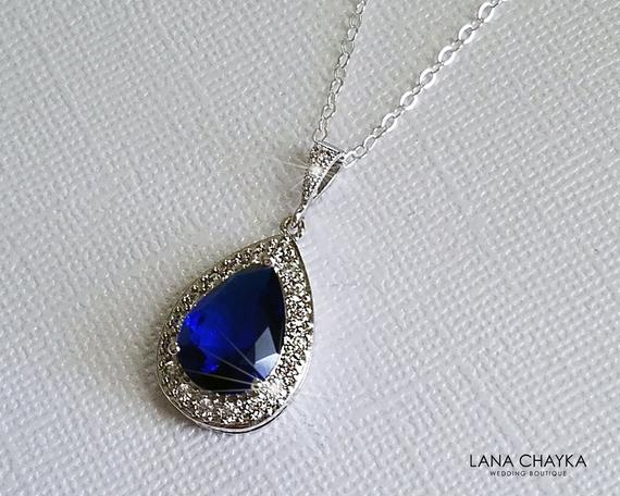 Свадьба - Sapphire Teardrop Bridal Necklace, Navy Blue Silver Wedding Pendant, Royal Blue Necklace, Sapphire Halo Necklace, Navy Blue Bridal Jewelry