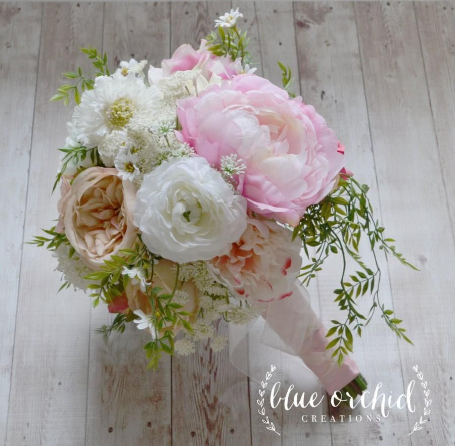 Свадьба - Country Bouquet - Shabby Chic Bouquet, Wedding Bouquet, Peony Bouquet, Garden Bouquet, Wildflowers, Ranunculus, Blush, Boho Bouquet