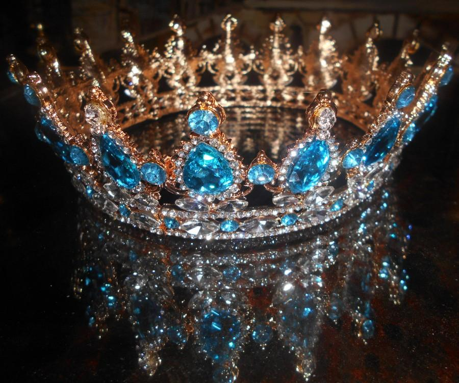 Wedding - Wedding blue Crown gold 18 k /  Swarovski Crystal Royal Diadême, CROWN ICE BLUE