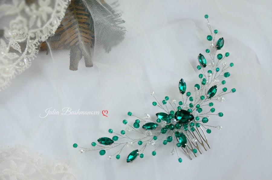 Свадьба - Emerald hair comb/Wedding hair piece emerald/Green hair clip/ Bridal head piece Emerald gold/Hair vine green/Wedding hair accessories green