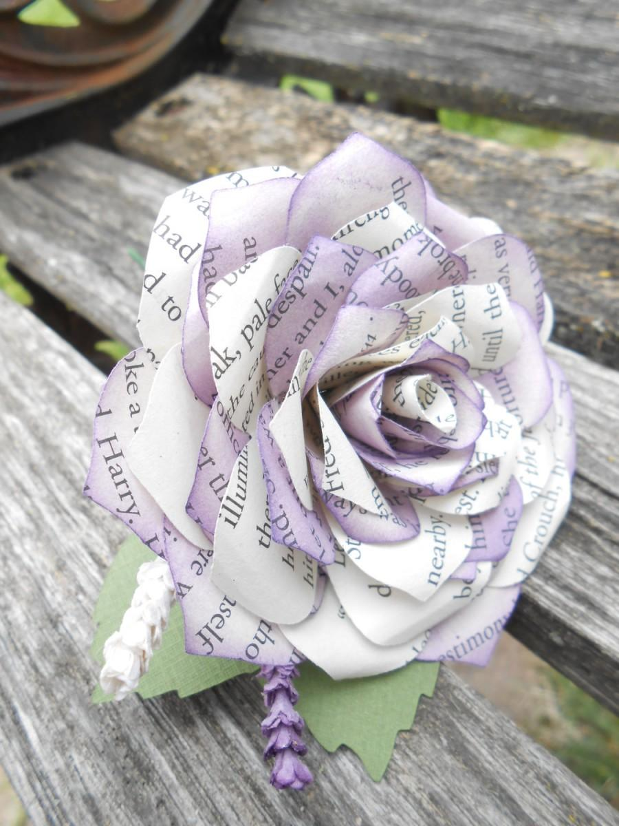 Mariage - Paper Rose Boutonnieres. CHOOSE YOUR COLORS, Books, Etc. Any Amount, Colors, Theme, Etc. Custom Orders Welcome.