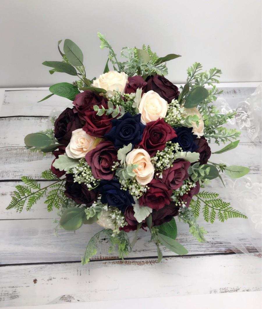 Hochzeit - Navy &burgundy bouquet,Wedding bouquet ,wine,ivory ,dark blue,bridal bridesmaids bouquet ,winter wedding