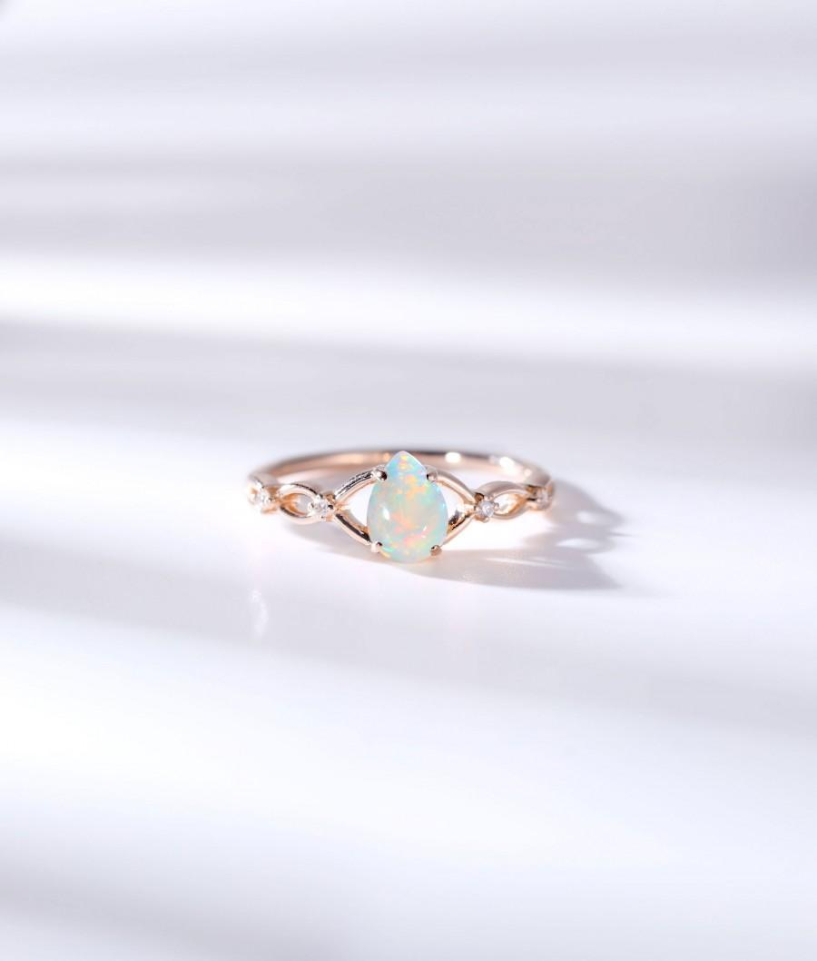 Свадьба - Pear shaped Opal engagement ring art deco ring diamond celtic ring vintage rose gold wedding promise art deco unique anniversary bridal ring