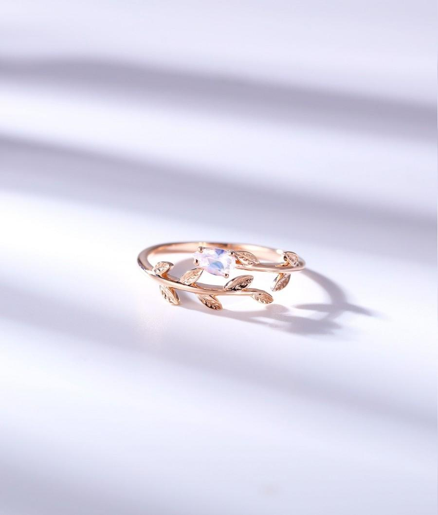 Mariage - Pear cut Moonstone engagement ring art deco ring leaf rose gold vintage alternative ring unique promise anniversary promise bridal ring