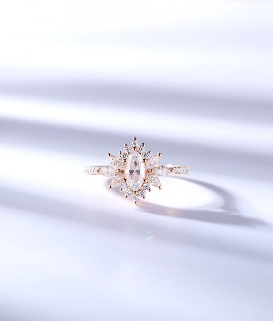 زفاف - Marquise Moissanite engagement ring art deco ring prong set vintage rose gold half eternity art deco unique promise anniversary bridal ring