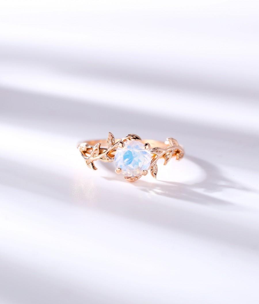 زفاف - Vintage Moonstone engagement ring leaf flower ring alternative ring rose gold ring art deco promise ring prong set unique anniversary ring