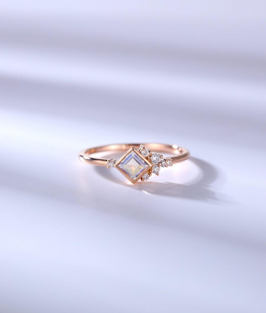 Hochzeit - Vintage Moonstone engagement ring Princess cut ring cluster ring rose gold ring art deco moissanite ring bezel set unique anniversary ring