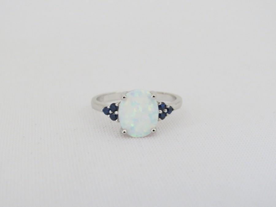 Wedding - Vintage Sterling Silver White Opal & Blue Sapphire Ring Size 7