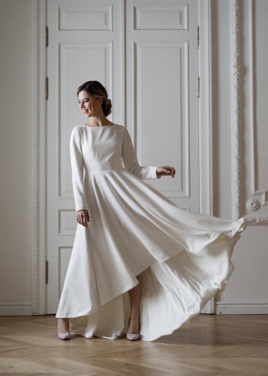زفاف - High low skirt modest wedding gown, A line wedding dress,1920 wedding dress,modern wedding dress,custom wedding dress,wedding dress,simple