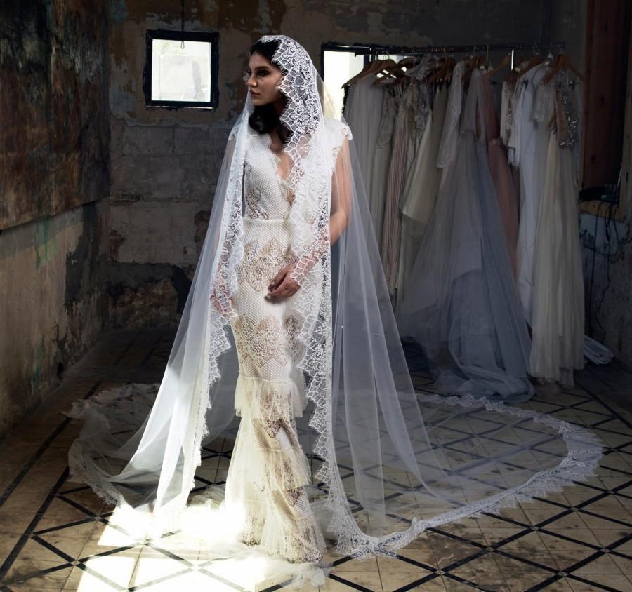Wedding - Royal Veil Lace, Long Lace Veil, Custom Veil, cathedral veil with blusher, wedding accessories, wedding veil ivory, comb veil, veil lace