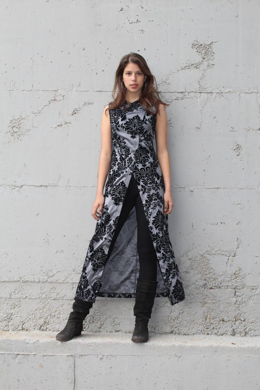Wedding - Tailored Black and Silver Evening Tunic Dress, Chinese Style Maxi Dress, Mother of Groom or Bride Suit, Women Special Occasion Dress