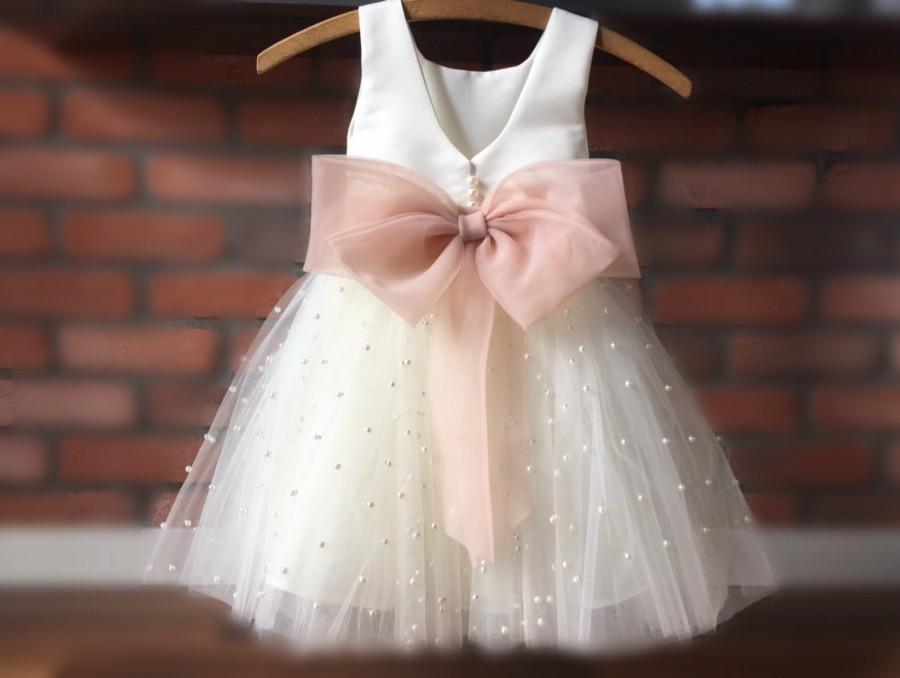 Wedding - GRETA PEARLS Tulle Flower Girl Dress Blush Dress Wedding Bridesmaid Dress