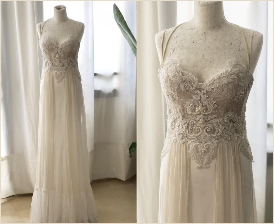 Wedding - Custom Wedding Dress Lace Wedding Dress Boho Style Wedding Dress Beach Wedding Dress Bridal Gown Custom Evening Dress Ivory Wedding Dress