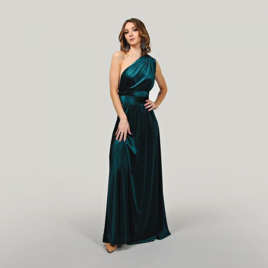Wedding - Emerald Green Maxi Bridesmaid Dress Prom Dress Infinity Dress Convertible Dress Wrap Dress Cocktail Evening Gown