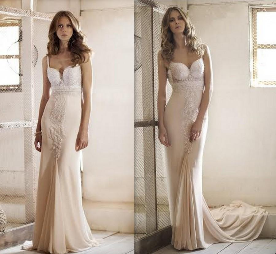 Wedding - Wedding Gown, wedding dress, v neck wedding dress, bridal gown, unique wedding dress, low back wedding, Champagne Dress, Elegant Wedding