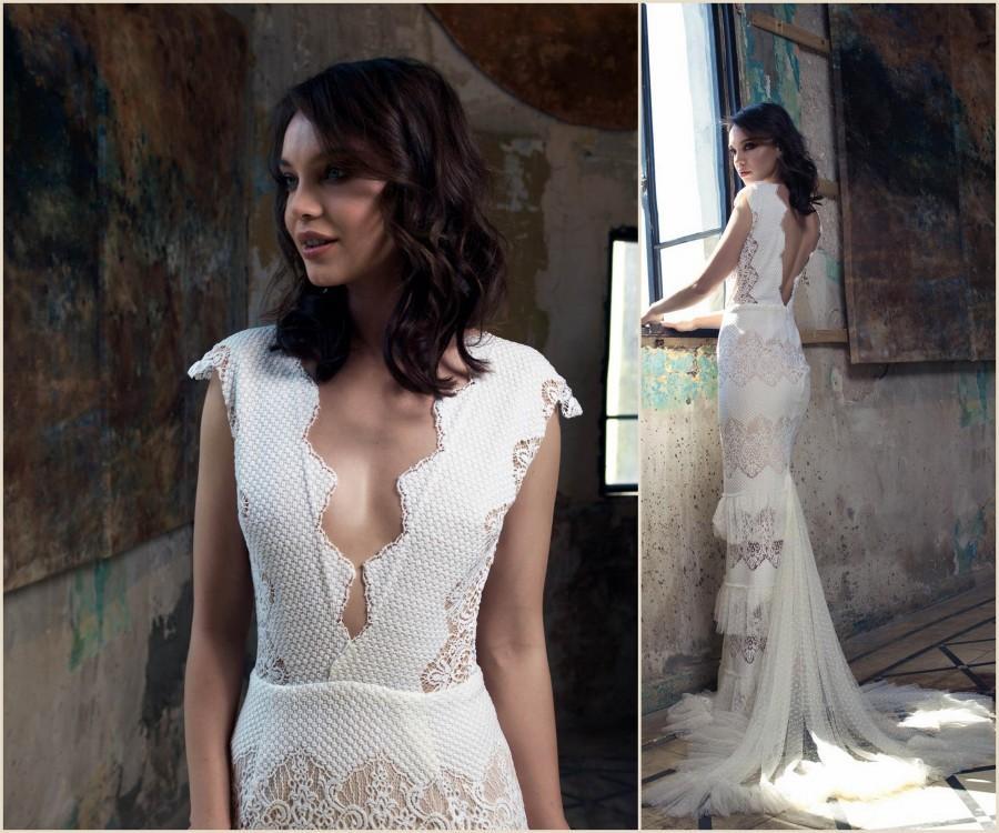 Wedding - Vintage Wedding Dress,  Bridal Gown, Elegant Wedding Dress, sleeveless wedding dress, V Neck Wedding Dress, crochet wedding dress