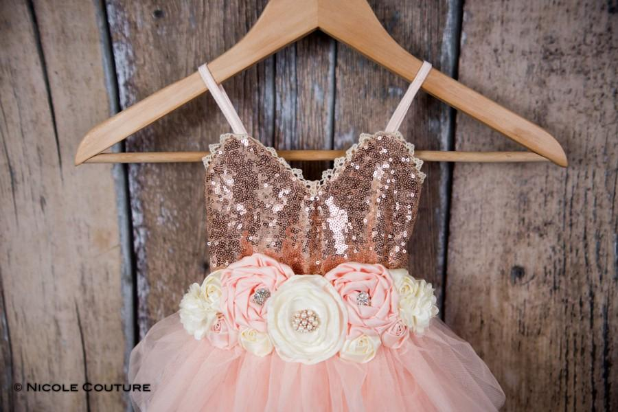 Wedding - Rose Gold Sequin Flower Girl Dress, Blush Pink Tulle Wedding Gown, Birthday Girl Cake Smash outfit, Boho Chic Easter Dress