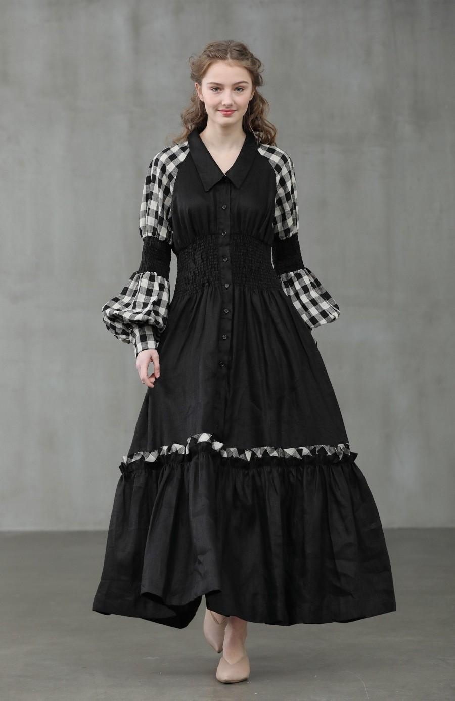Wedding - maxi linen shirt dress, black check dress, black shirt dress, formal dress, puff sleeve dress, longsleeve ruffle dress