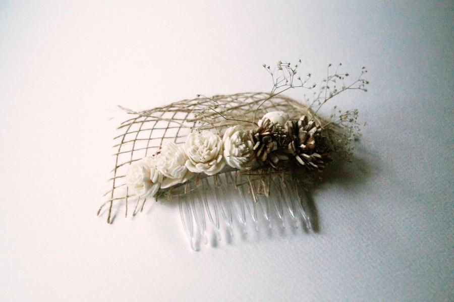 Hochzeit - Sola flower Hair Comb Wedding Hair Comb brown burlap Hair flowers hair comb dried flower garden wedding bridal headpiece hair accessories