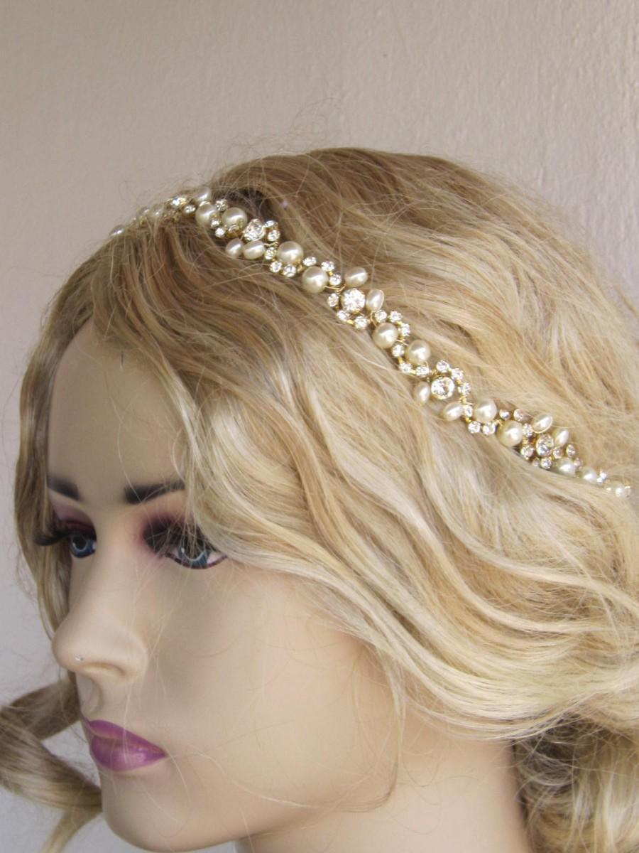 Wedding - Wedding Headband, Gold Rhinestones and Ivory Pearl  Headband, bridal headband, wedding hair piece, bridal hairband, Bridal Accessories