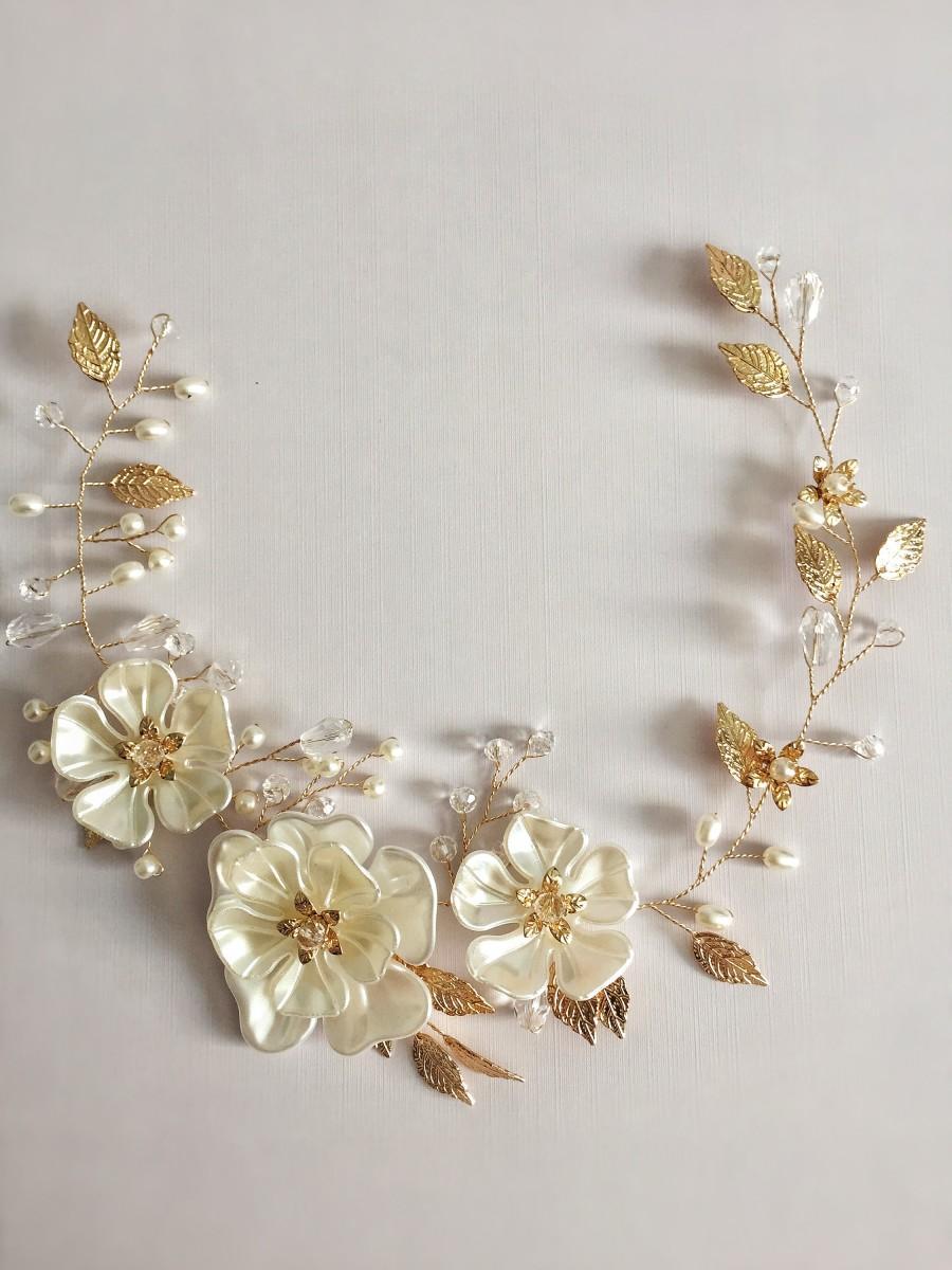 Hochzeit - Gold Flowers Wedding Crown Leaf Wedding Hair Accessories Hairbands Bride Headband Crown and Tiaras Bridal Hair Accessories Hairbands Jewelry