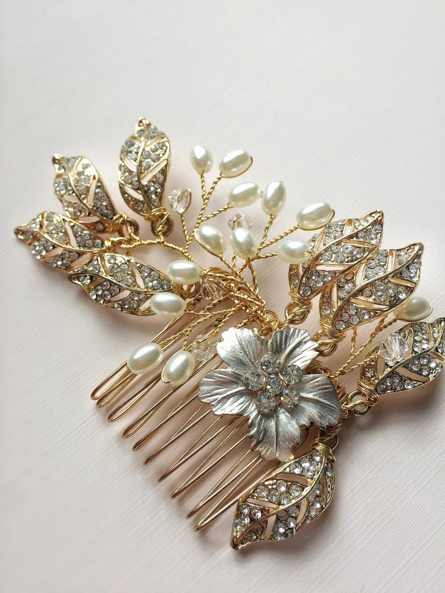 زفاف - Wedding Comb Gold Crystal Pearl Hair Comb For Wedding Hair Accessories Handmade Bride Hair Jewelry Headpiece