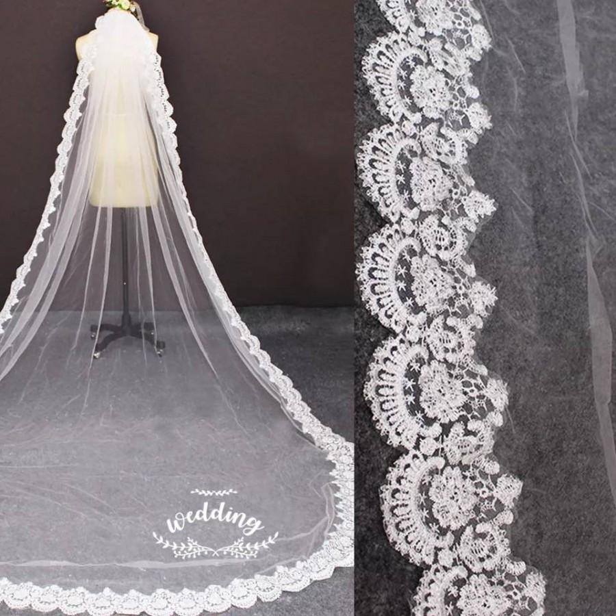 زفاف - Cathedral Wedding Veil with Embroidery-White Bridal Veil-Ivory Veil-Ivory Veil-White Wedding Veil with comb -Cathedral Ivory Wedding Veil