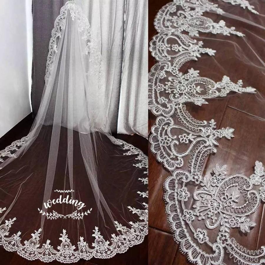 Свадьба - Cathedral Wedding Veil with Embroidery-White Bridal Veil-Ivory Veil-Ivory Veil-White Wedding Veil with comb -Cathedral Ivory Wedding Veil