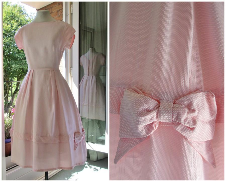 Mariage - 1950s Dress 50s Pink Bridesmaid Cocktail Party Dress with Full Skirt Boat Neck and Bows XS