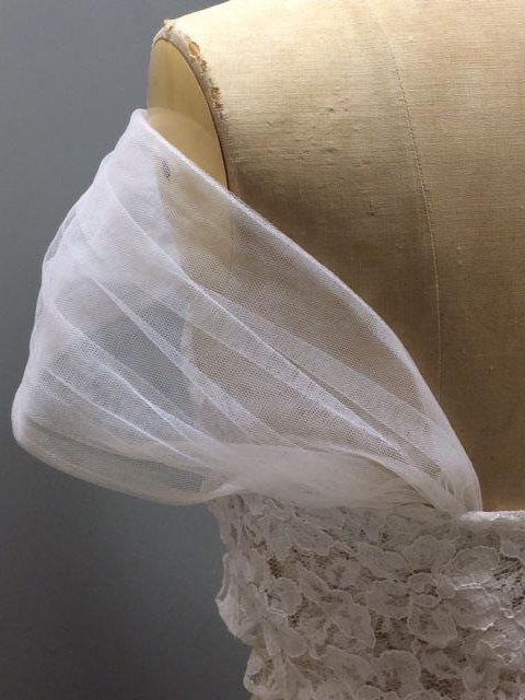 Wedding - DETACHABLE tulle wedding dress STRAPS ivory white black bolero shawl chiffon bridal silk cape jacket lace sleeves strapless corset ballgown