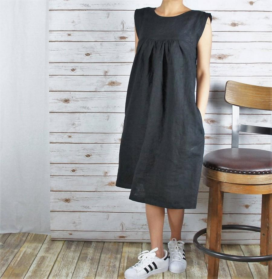 Свадьба - Linen DRESS/ All season dress/Washed/ Textured/100% Linen/LINEN dress/long tunic/long top/#LD1705/Length: 38.5""