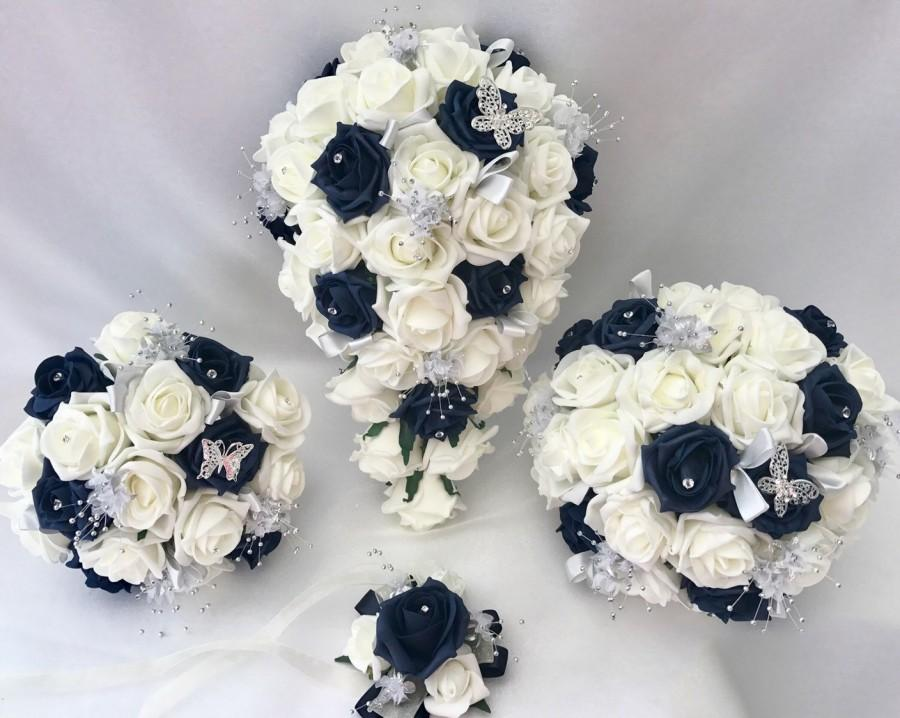Hochzeit - Artificial wedding bouquets flowers sets ivory navy
