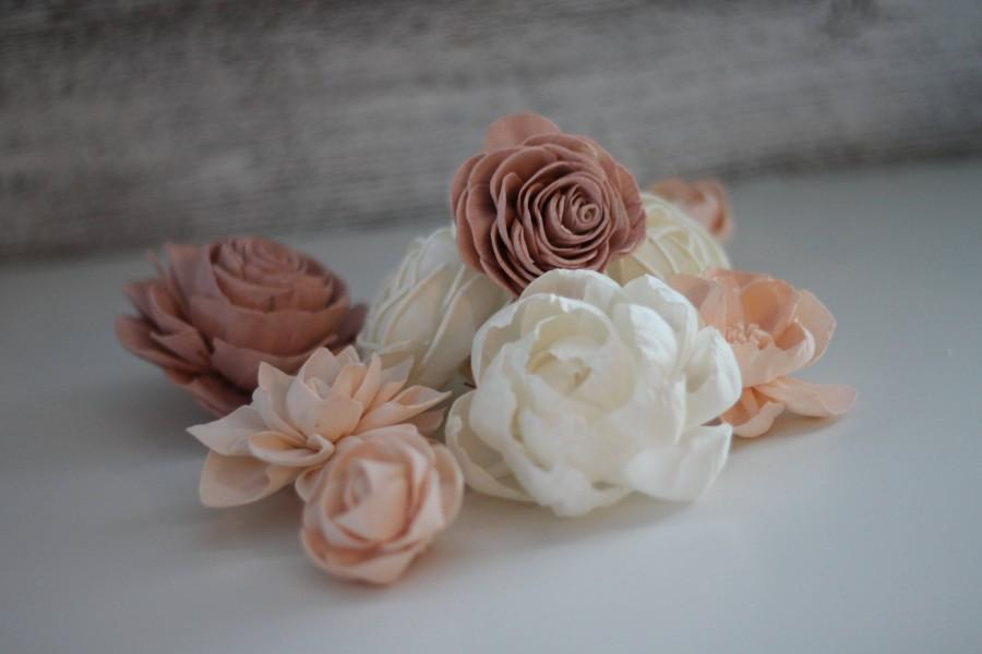 Hochzeit - SAMPLE Shabby Chic Loose Flowers - Wooden Flowers - Shabby Chic Wedding Collection - Pink and Blush - Custom Colors - Made to Order